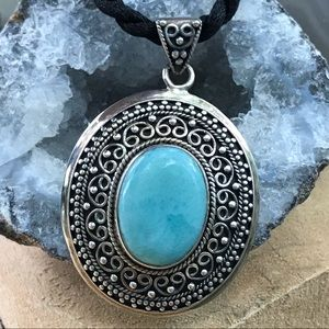 """Jewelry - Turquoise Silver Pendant 16"""" Black Cord Necklace"""